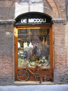 A shop window in the narrow streets of Siena